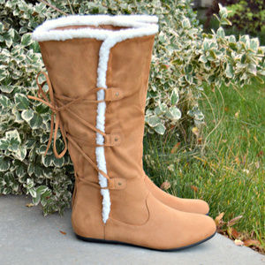 Lace Up Shearling Flat Boots WIDE CALF in Camel